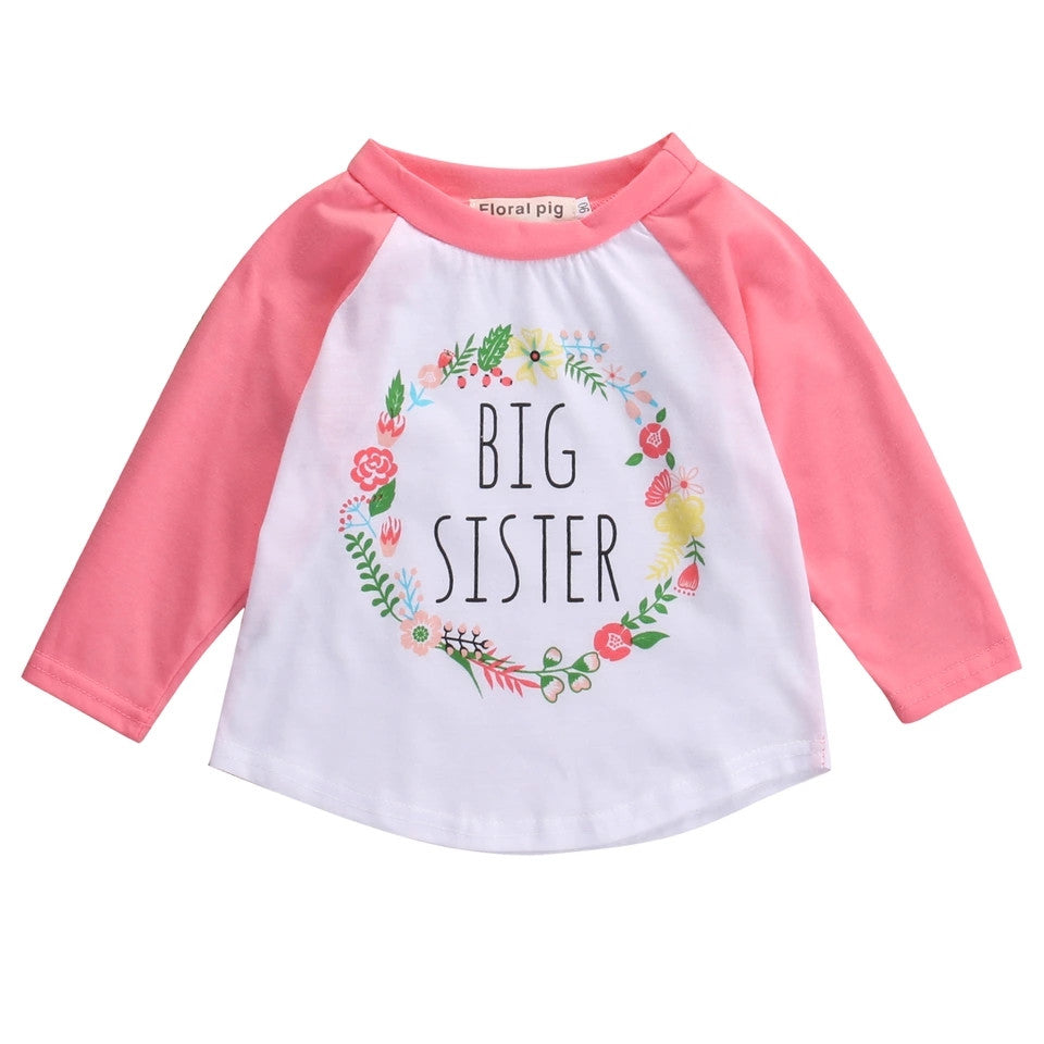 Big Sister Graphic Print Baseball Style T-Shirt, Rose