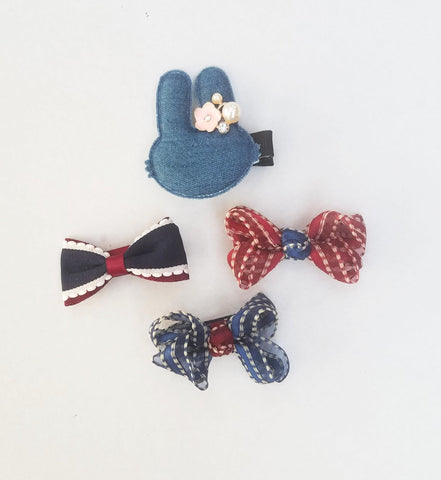 Handmade Non-Slip Hair Clips - Denim & Blues - (CLICK FOR MORE OPTIONS)