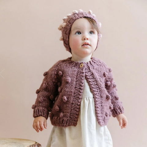 Popcorn Knit Cardigan, Dusty Mauve