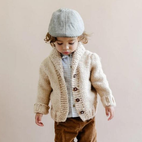 Boys Shawl Collar Chunky Knit Cardigan, Latte