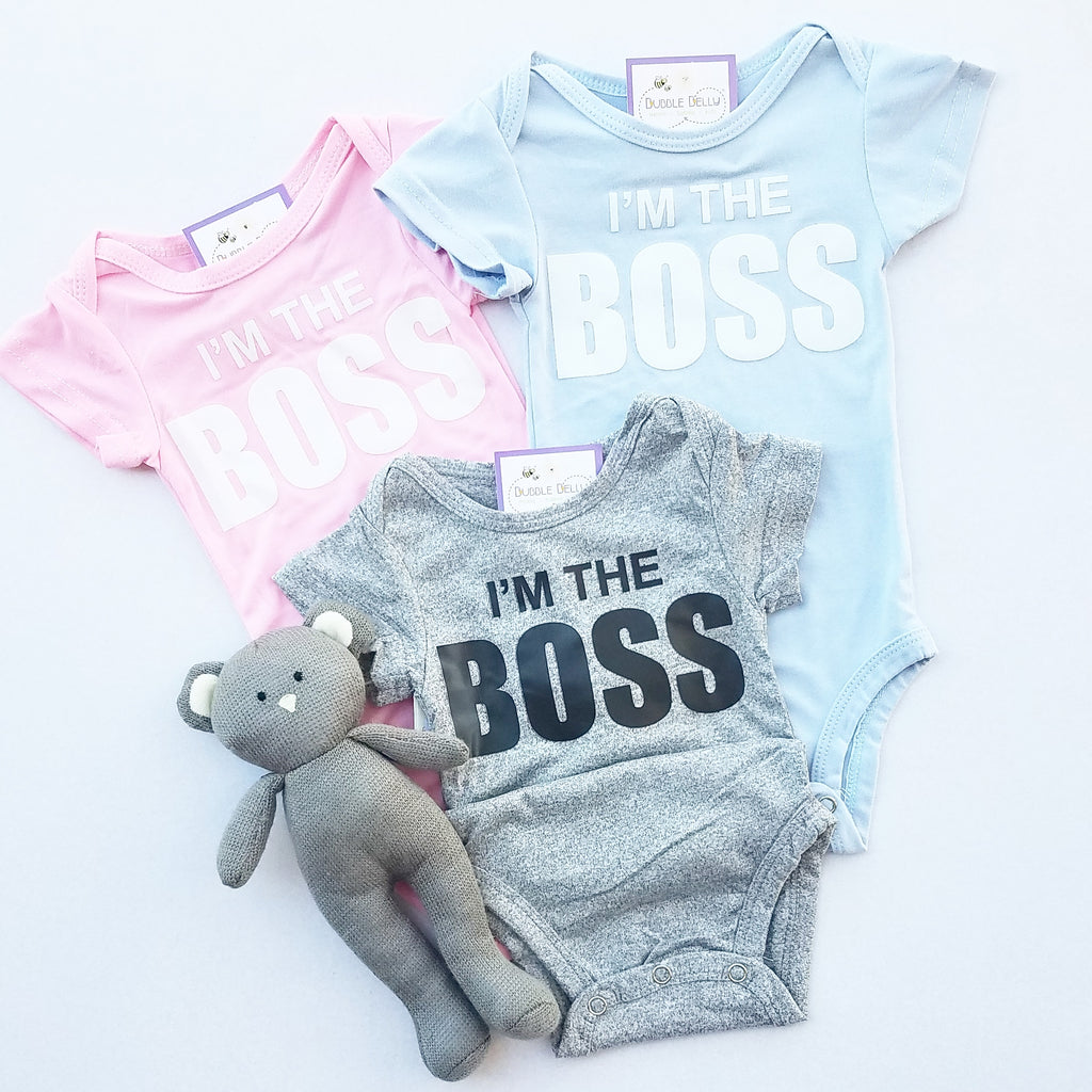 I'm The Boss baby bodysuit, snapsuit, onepiece, baby blue, heather grey, pink
