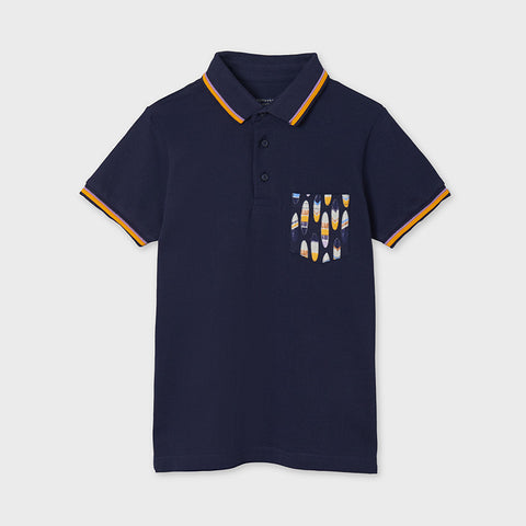 6108 Eco-Friendly Mayoral Boys S/S Surf Polo, Navy