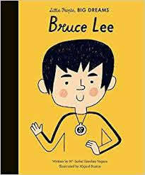 Little People Big Dreams Bruce Lee book with cartoon drawing of Bruce Lee as the cover.