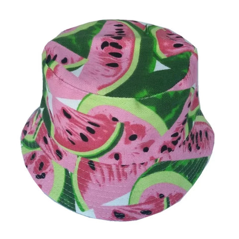 Hat, Kids Bucket Style Sun Hat, Watermelon Print, Crushable