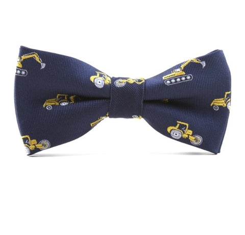Boys Adjustable Bow Tie - Construction Vehicles, Navy