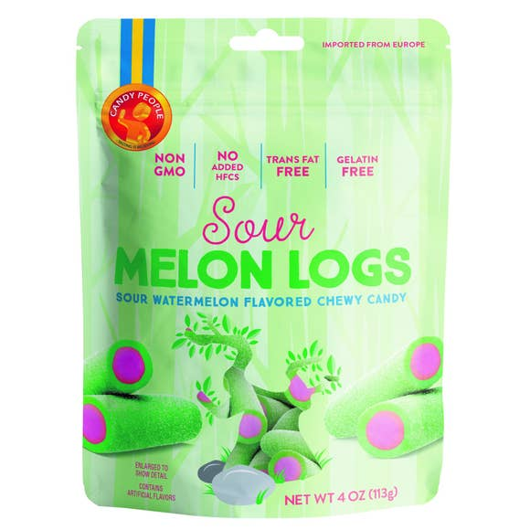 European Gummies, Swedish Candy, Non-GMO Green and pink Sour Melon Logs