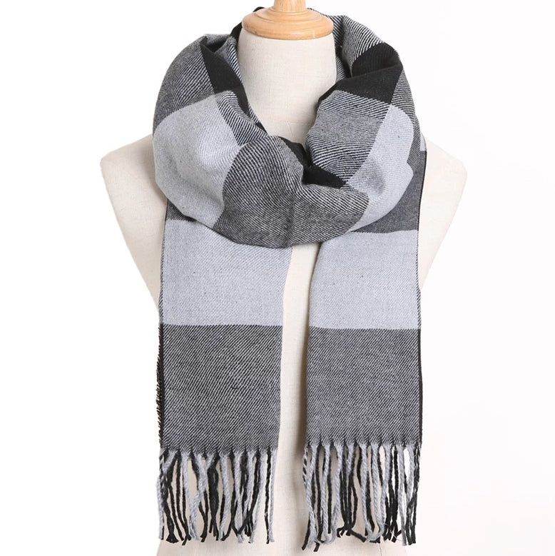 Cashmere grey color blocked scarf, alternating colors of grey, string in the bottom