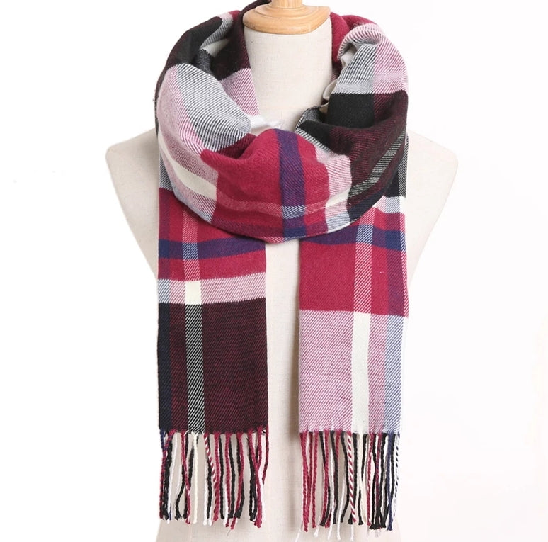 Magenta and chocolate color blocked cashmere scarf for woment, strings at the bottom of scarf
