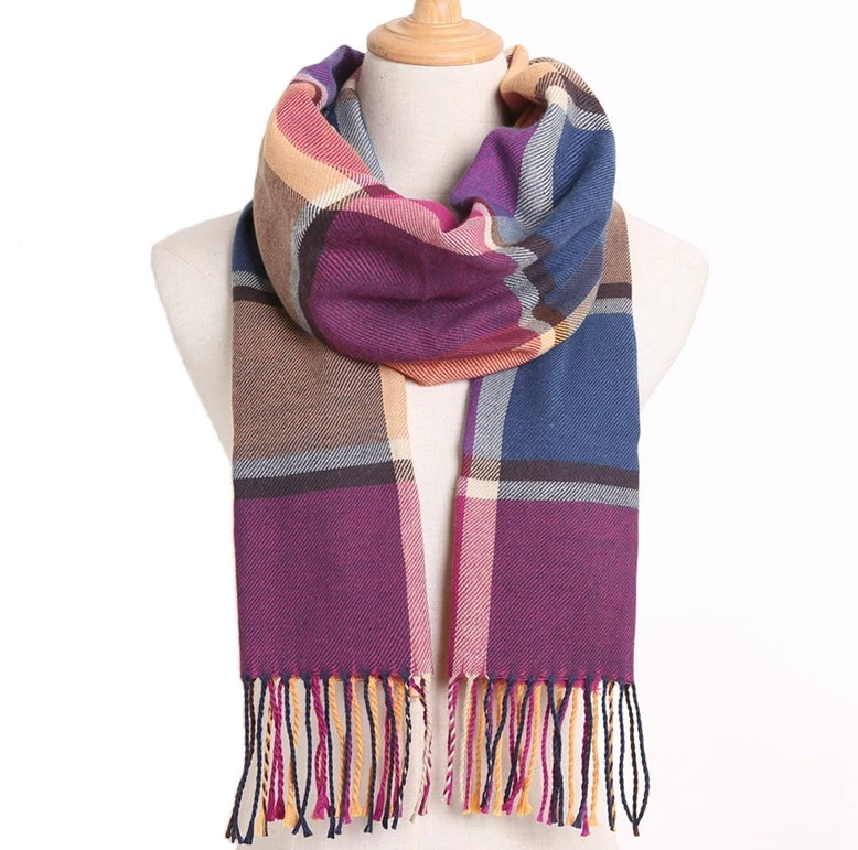 Ladies cashmere fringed color blocked plum scarf with strings at the ends of the scarf