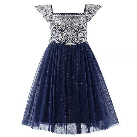 L3 Charlotte Gold Guipure Lace Navy Glitter Dress