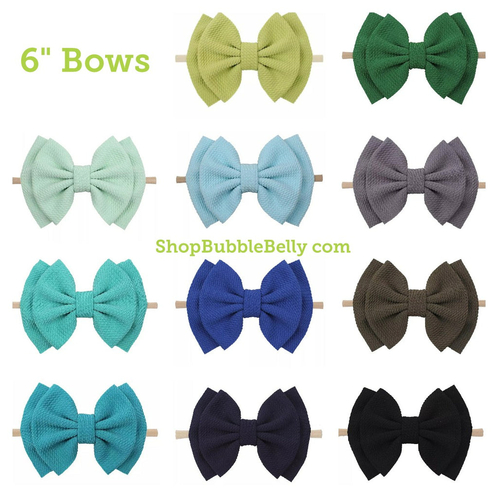 "6"" Bow & Nylon Headband, Blues & Greens (CLICK FOR MORE OPTIONS)"