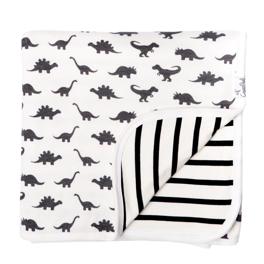 Copper Pearl 3 Layer Dino Wild Quilt Blanket, Black and White