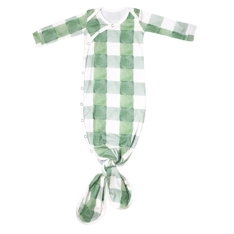 Copper Pearl Lux Stretchy Knotted Sleep Gown - Unisex Pine Green Check