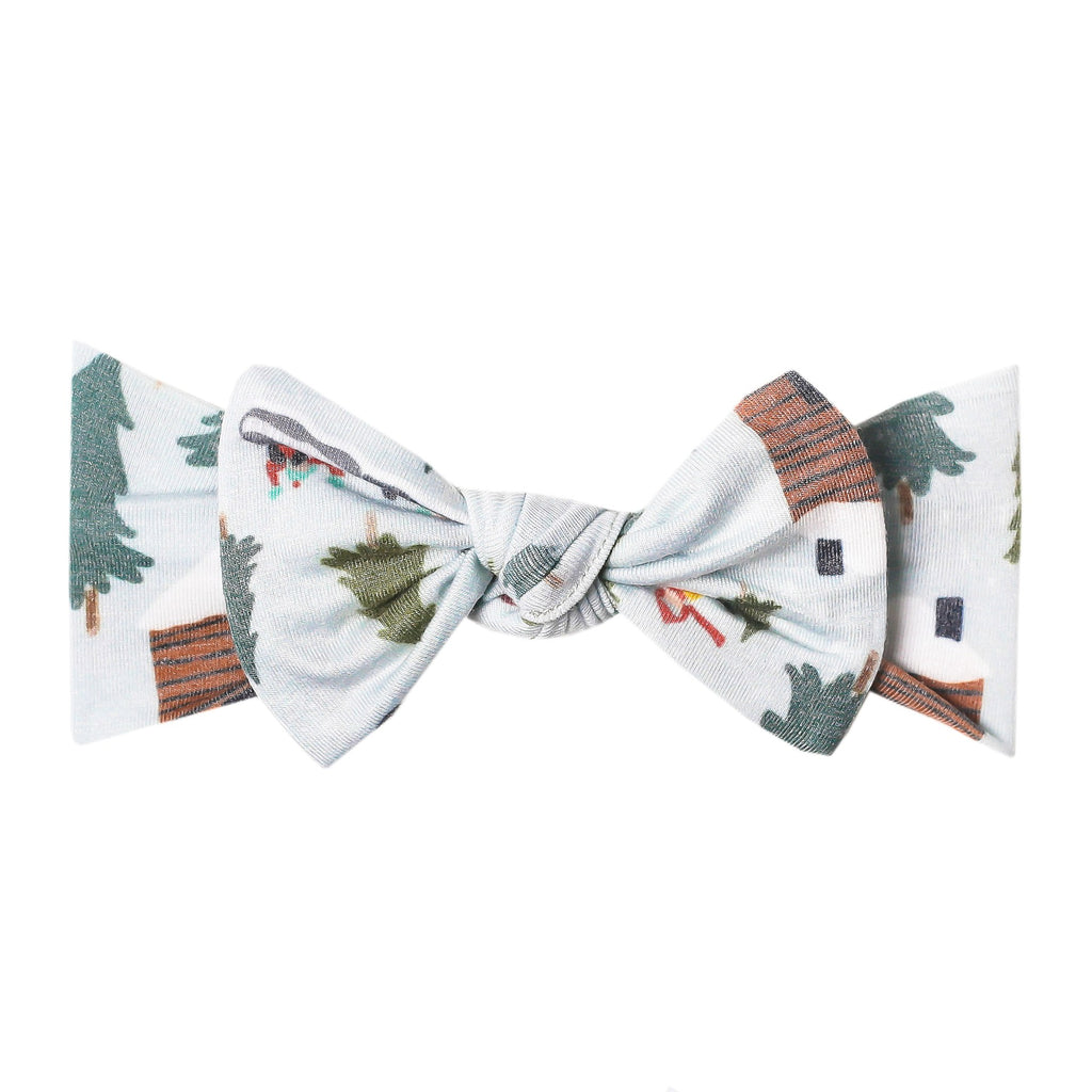 Copper Pearl Bow Headband Headwrap, Kringle Vintage Trucks & Trees