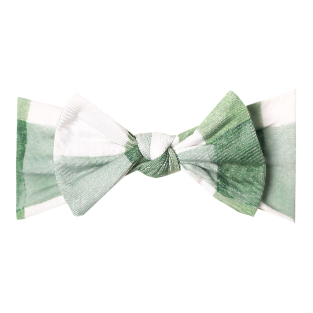 Copper Pearl Bow Headband Headwrap, Pine Green Check