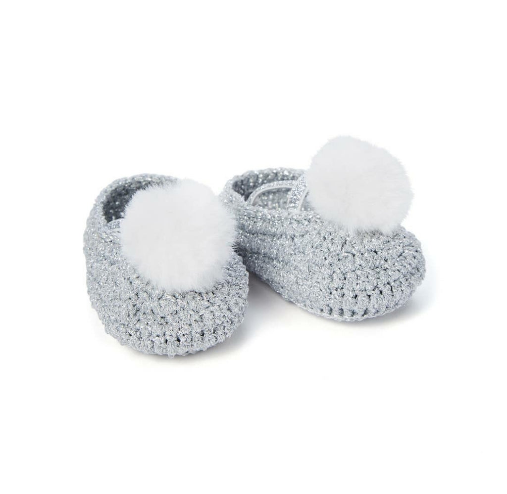 Baby's 1st Heirloom Crochet Booties, Sparkle Silver Pompom