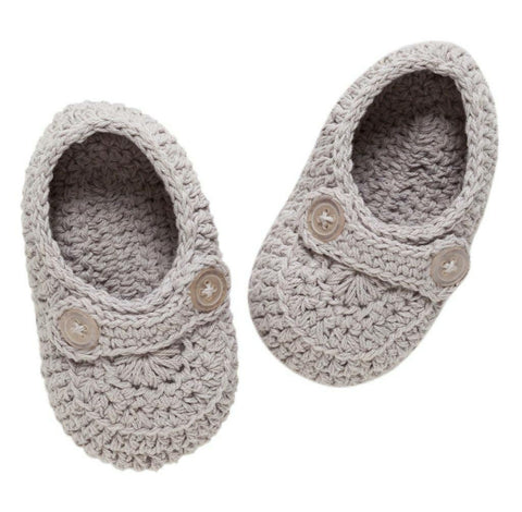 Baby's 1st Heirloom Crochet Booties, Grey