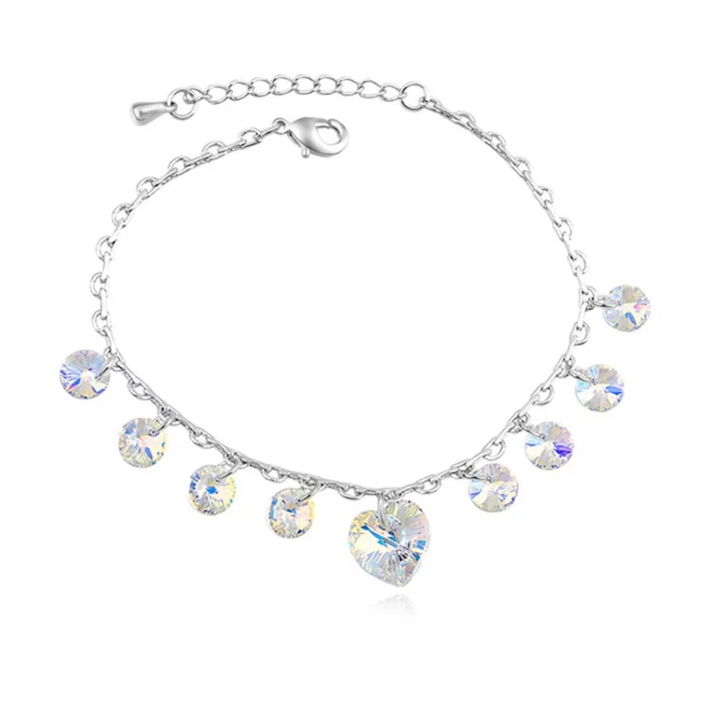 Crystal Heart Charm Bracelet for girls and adults