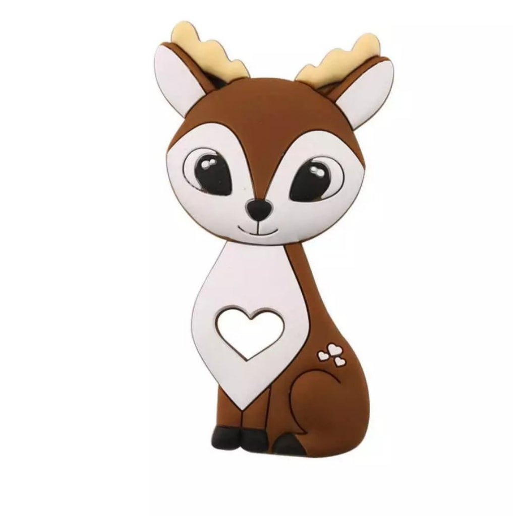 woodland theme baby teether, brown deer silicone teething toy