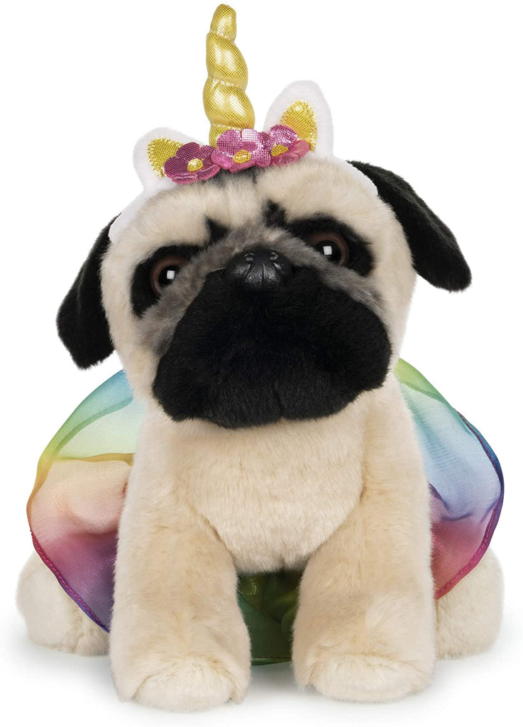 "Doug the Pug, 9"" Rainbow Tutu Unicorn"