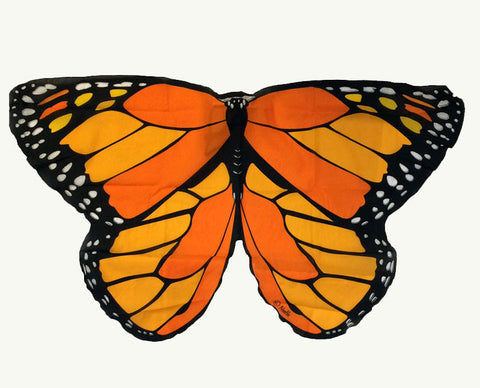 Butterfly/Fairy Soft Fabric Wings, Monarch Orange