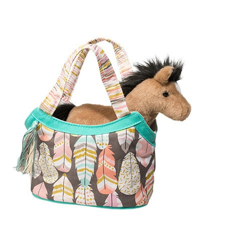 Dream Feathers Handbag w/Plush Horse - Aqua