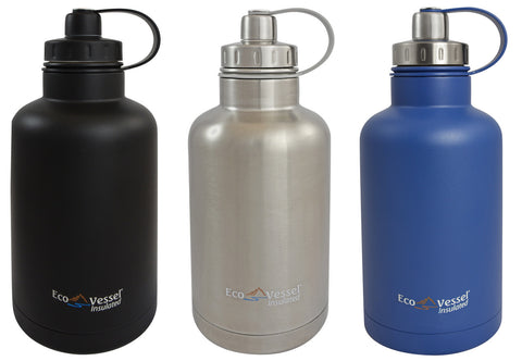 Eco Vessel - Insulated Growler, Stainless Steel Water Bottle w/Infuser 64 Fl. Oz. <br>(CLICK FOR MORE COLOR OPTIONS)