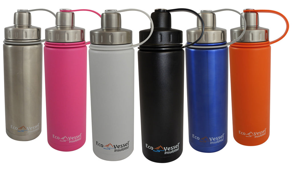 Eco Vessel - Insulated Twist Top Stainless Steel Water Bottle w/Strainer 20 Fl. Oz. <br>(CLICK FOR MORE COLOR OPTIONS)