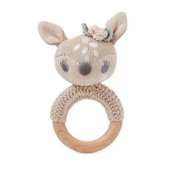 Fawn Deer Knit Ring Rattle Soft Toy