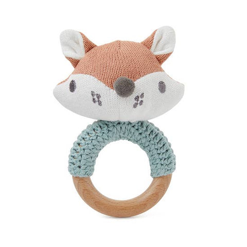 Fox Knit Ring Rattle Soft Toy