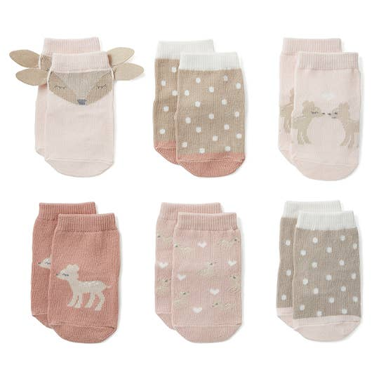 Knit Baby Socks, 6 Pair Set - Fawn