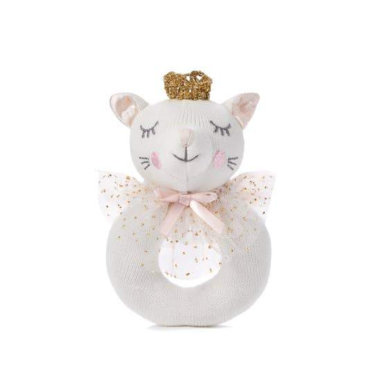 Elegant Baby Knit Rattle Toy, White Kitty Cat