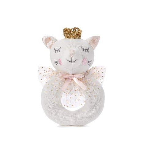 Elegant Baby Knit Rattle Toys - Kitty Cat, White
