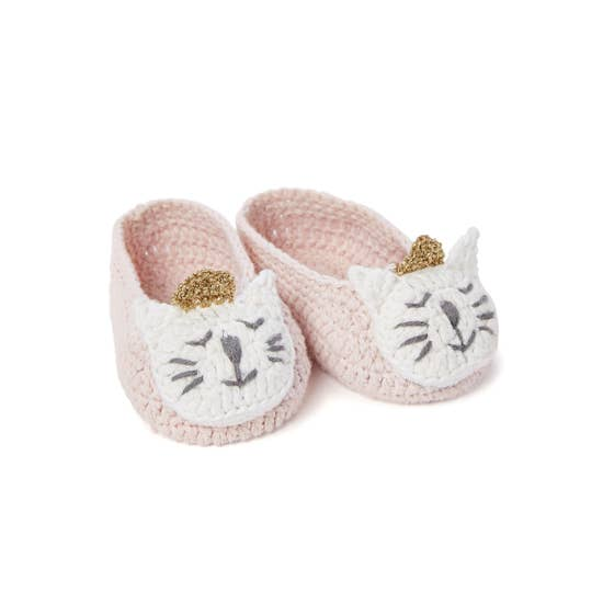 Elegant Baby Knit Kitty Cat Pink Booties