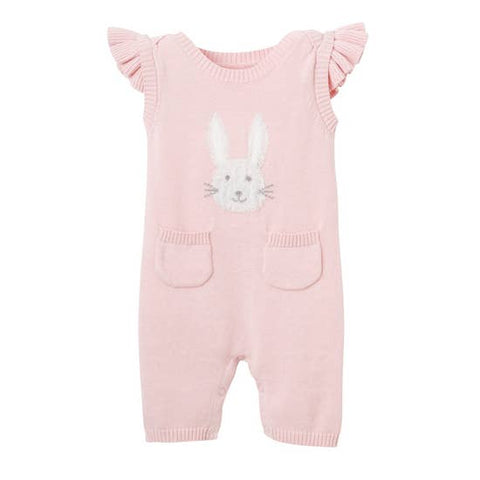 Elegant Baby Coverall - Pink Bunny