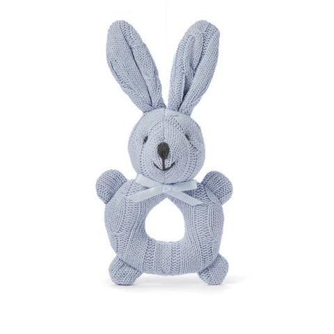 Elegant Baby Knit Rattle Toys - Bunny, Baby Blue