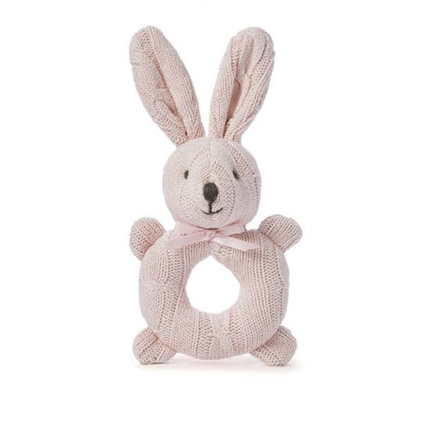 Elegant Baby Knit Rattle Toys - Bunny, Pink