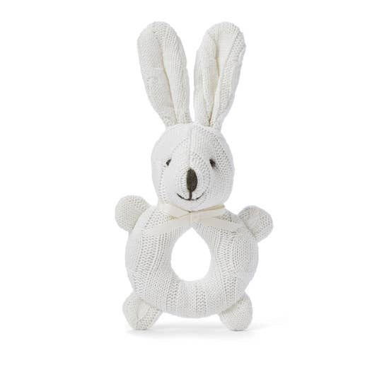 Elegant Baby Knit Rattle Toy, White Bunny