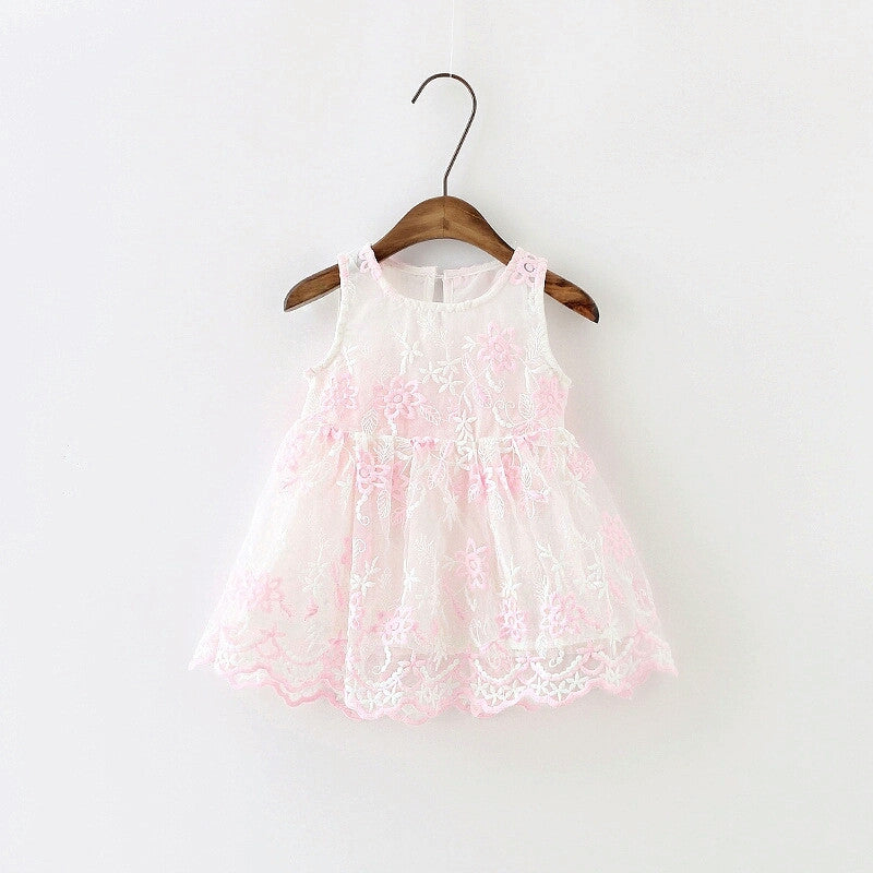 Embroidered Overlay Dress, Scallopped Hem - Pink & White