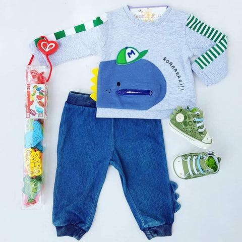 M1514 Mayoral Baby Boys Dinosaur Sweatshirt & Dino Denim Set