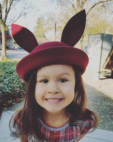 Bunny Ear Wool/Felt Charlie Hat, Wine Red, O/S 2-10 yrs