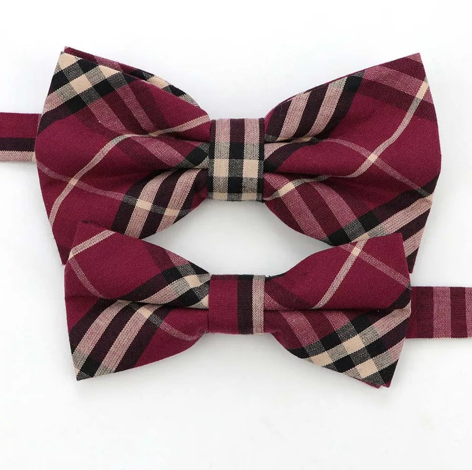 Bowtie, Dress Up Bow Ties, Matching Set, Deep Wine Red Plaid