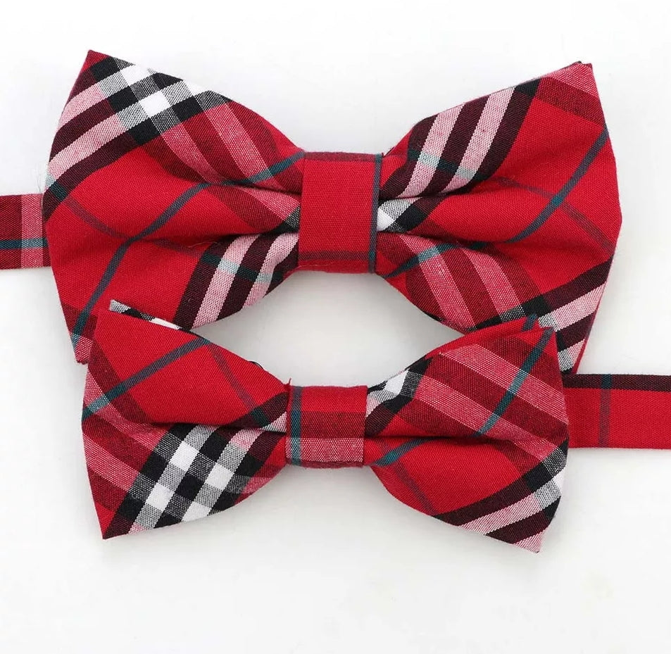 Bowtie, Dress Up Bow Ties, Matching Set, Red Plaid