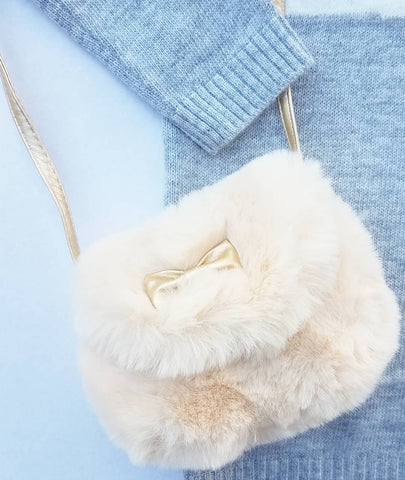 Faux Fur CrossBody Purse - Cream