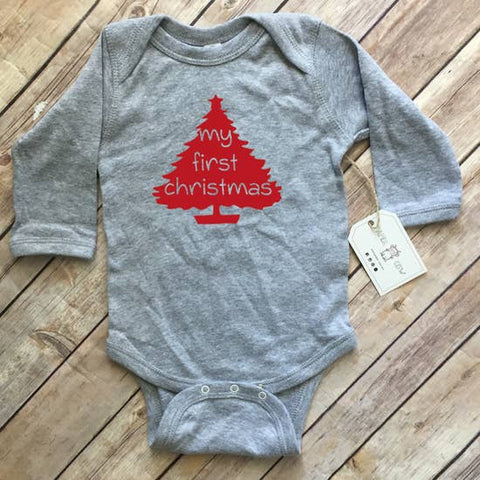 My First Christmas - L/S Bodysuit, Unisex Grey