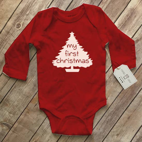 My First Christmas - L/S Bodysuit, Unisex Red