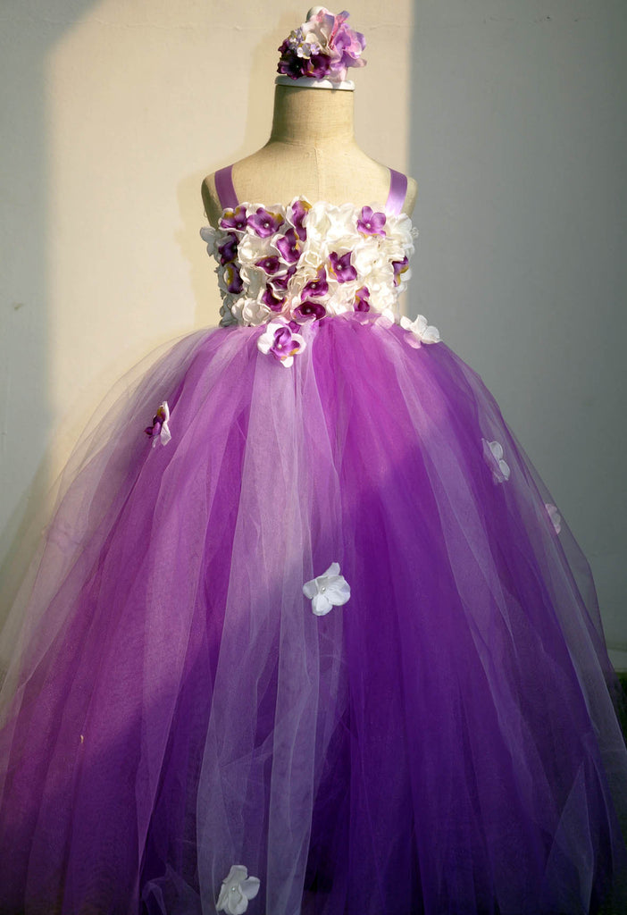 floor length flower girl dress, purple and white floral tulle gown