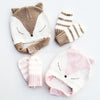 knit intarsia fox beanie and mittens, infant