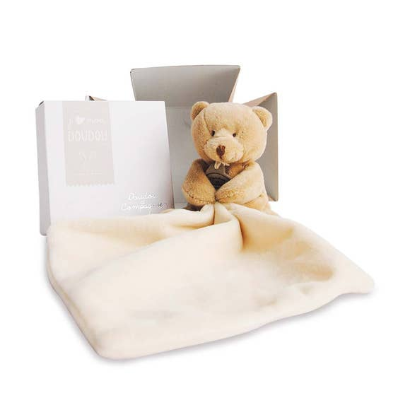 Classic brown teddy bear with a blankie, small and soft lovie