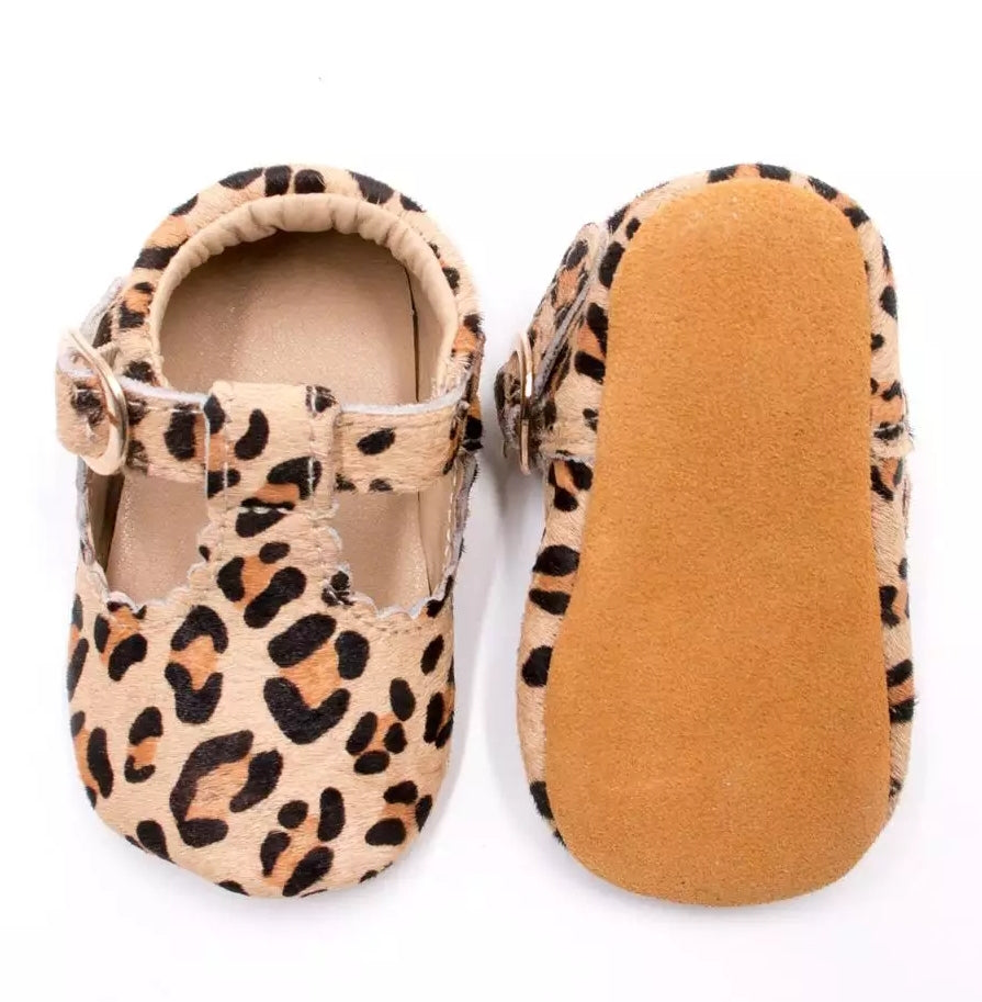 Baby Moccasins Tan L;eopard Print with Plain Tan Bottom and Buckle Strap
